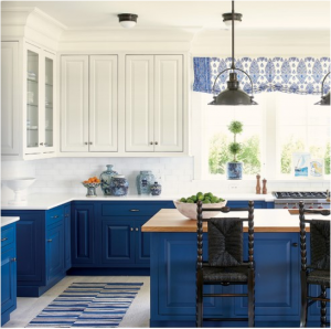 kitchen-design-in-calhoun-ga-cobalt-blue-base-cabinets-ivory-top-cabinets-butcher-block-island